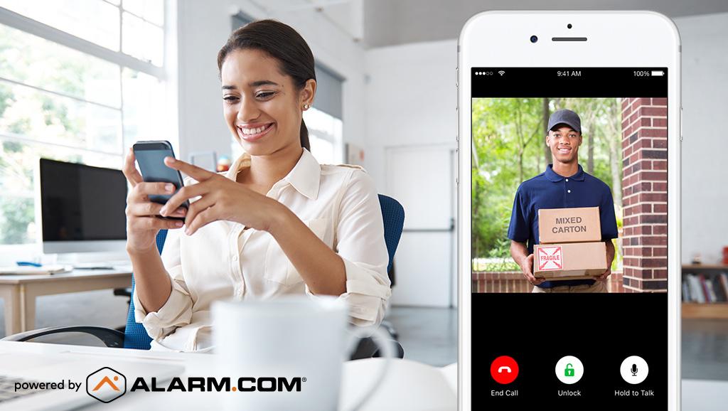 woman answering video doorbell